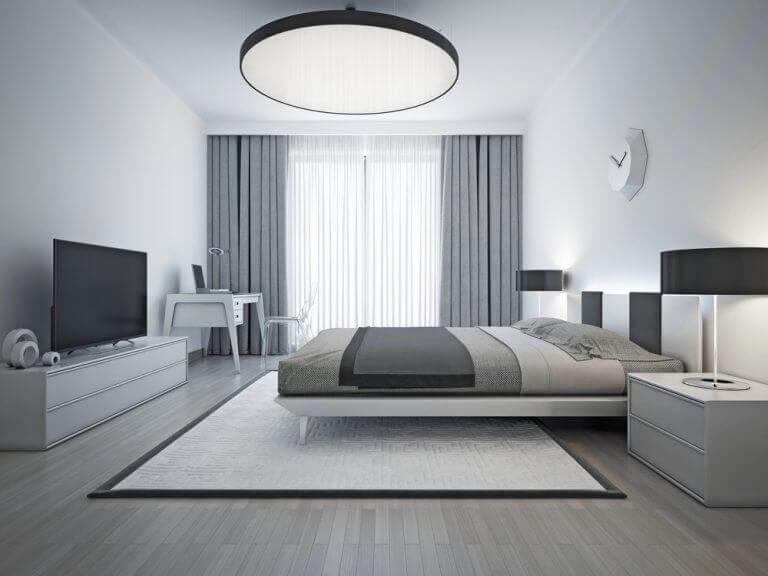 Slaapkamer met contrast van zwart tot wit