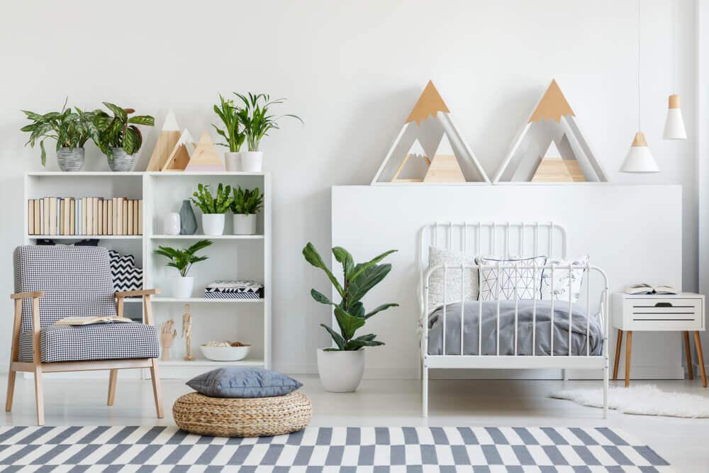 Kamer met natuurlijke materialen