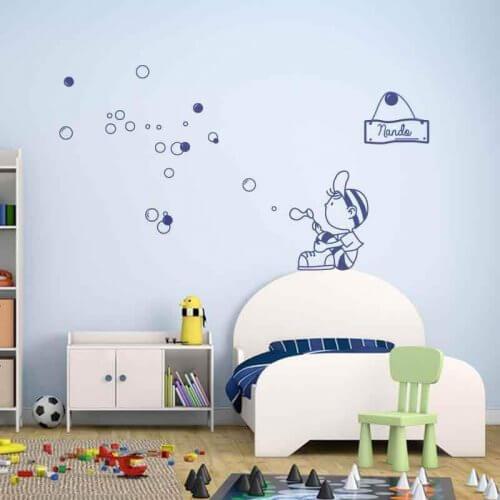 Muurstickers met blauwe bubbels