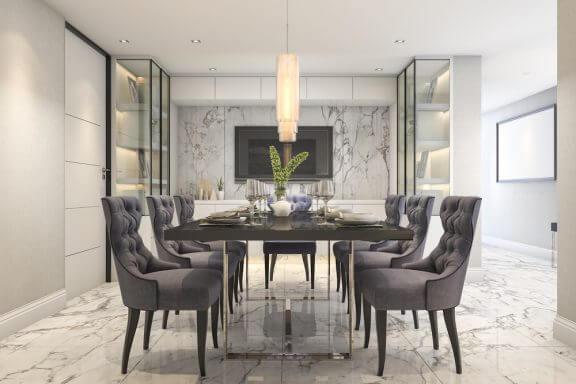Eetkamertafel met zes stoelen