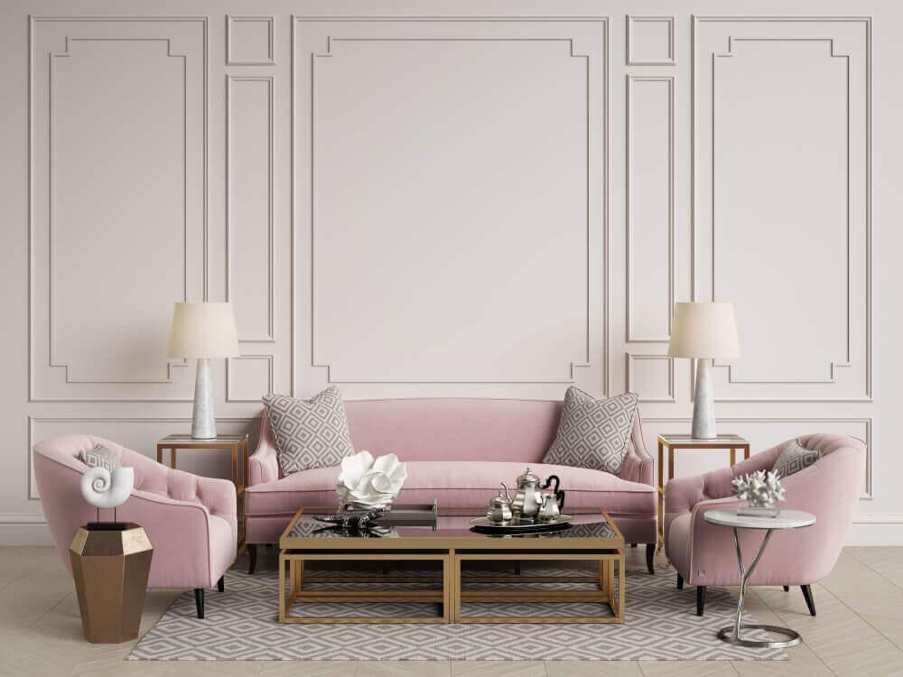 Woonkamer in grijs en roze