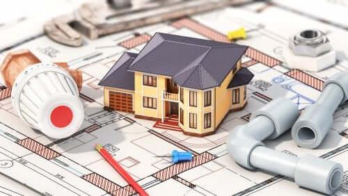 Blauwdrukken en een bouwmodel