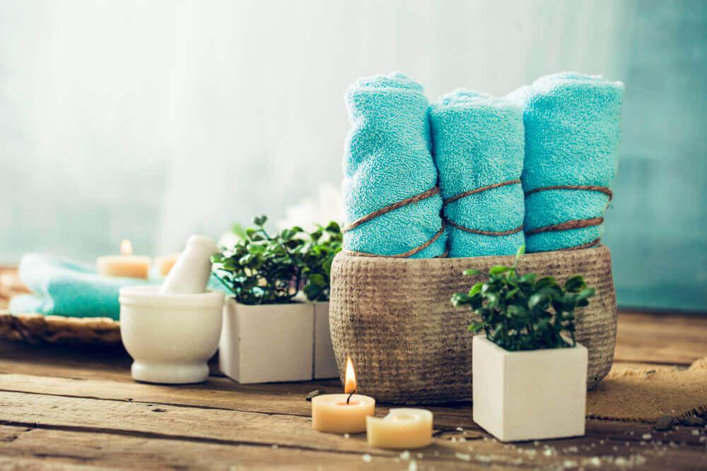Mandje met handdoeken