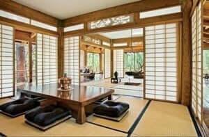 Laag meubilair is een van de kenmerken van de oosterse stijl