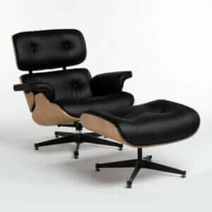 Zwart en beige fauteuil en voetenbank