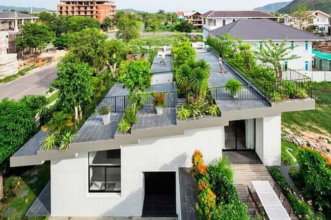 Woningen met een tuin op het dak