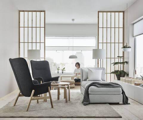 Woonkamer met een japans interieur