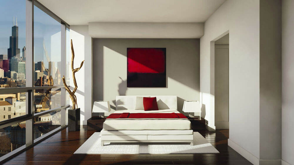 Een schilderij boven het bed
