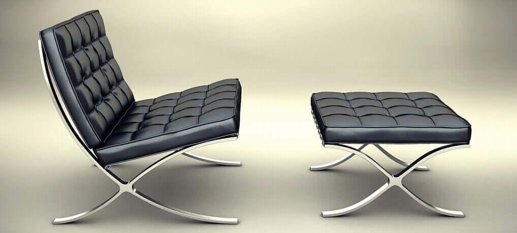 Zwarte stoel en voetenbank