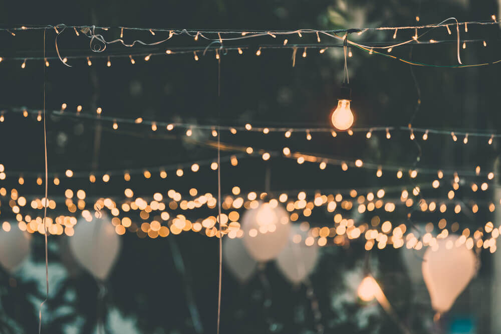 Lampjes op het terras