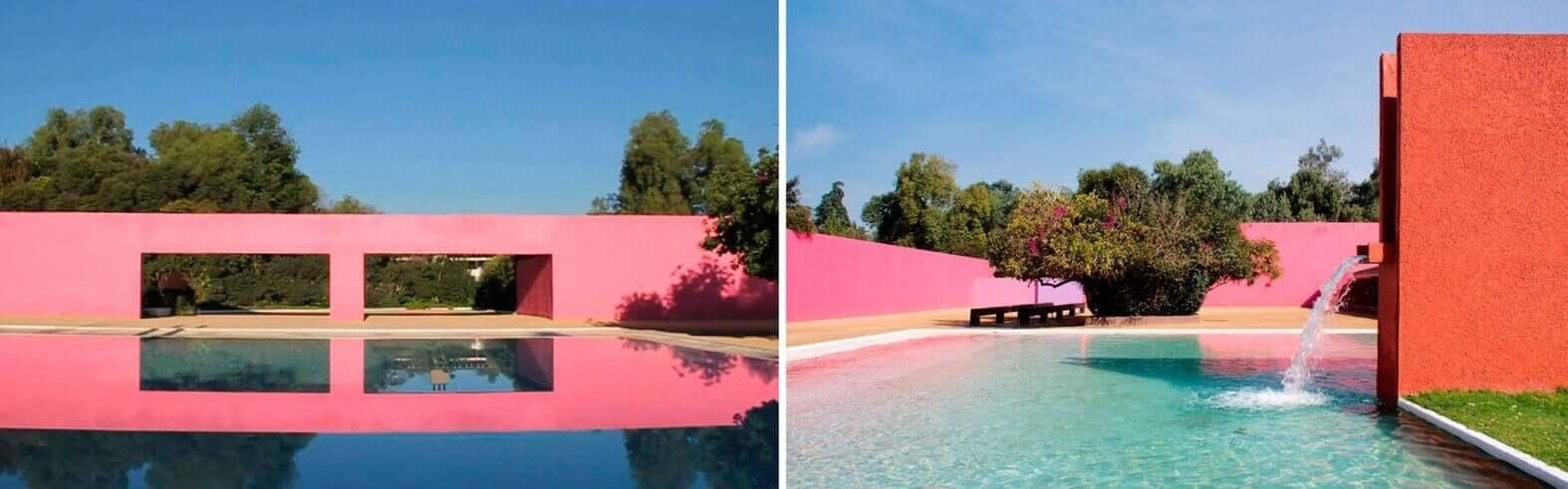 Gebouwen met een roze muur