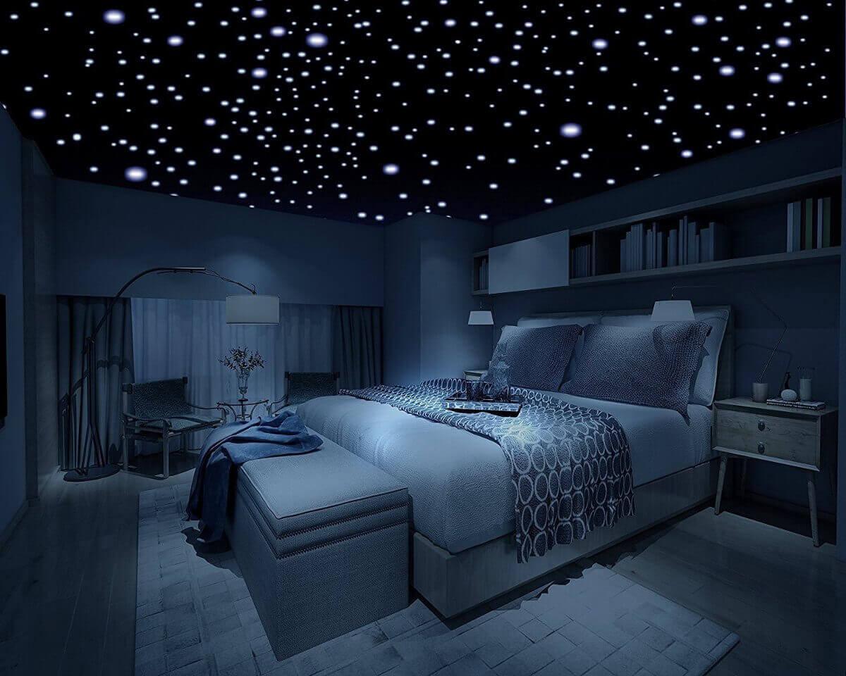 Slaapkamer met astronomische plafonddecoratie