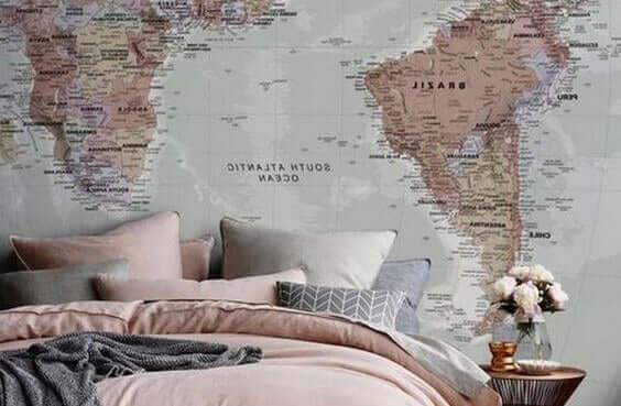 Muurafbeelding van een landkaart