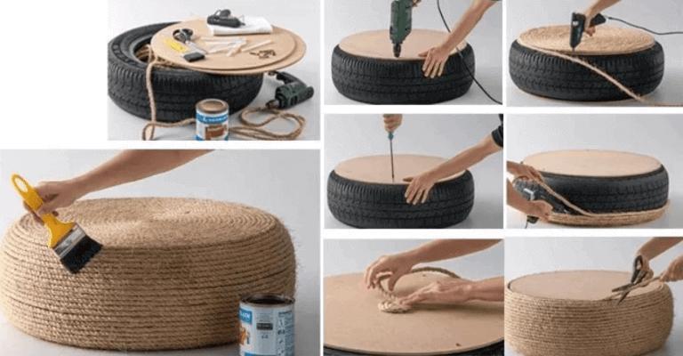 Stoelen van banden en touw