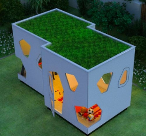casinha futurista de madeira-casinhas de madeira para crianças