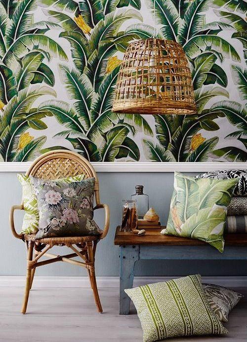 papel de parede de plantas-tendência natural na decoração