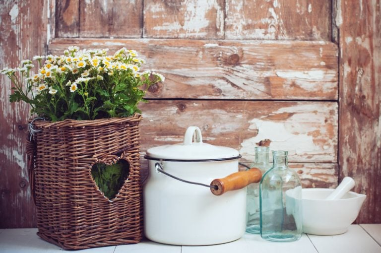 O mais romântico: cesta com flores