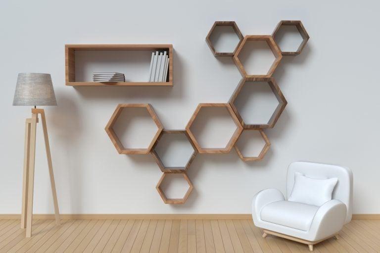 Prateleiras geométricas-estantes originais
