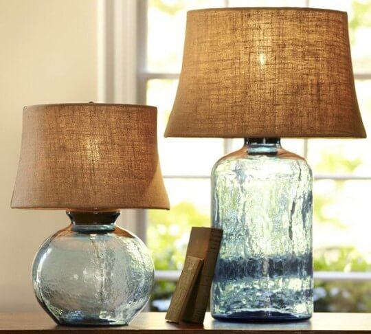 lâmpadas de mesa de vidro