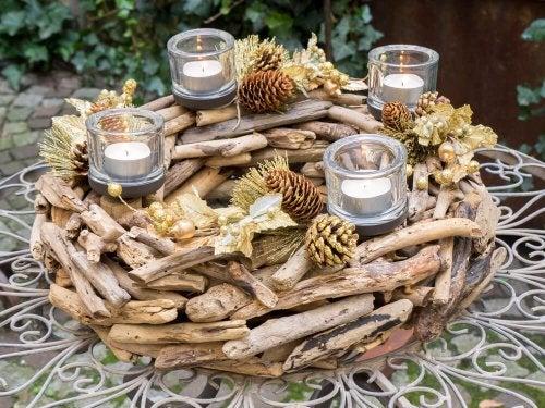 madeira como centro de mesa