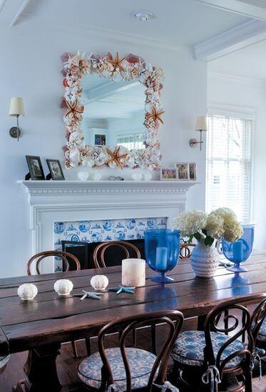 moldura com conchas-molduras de espelhos feitas em casa