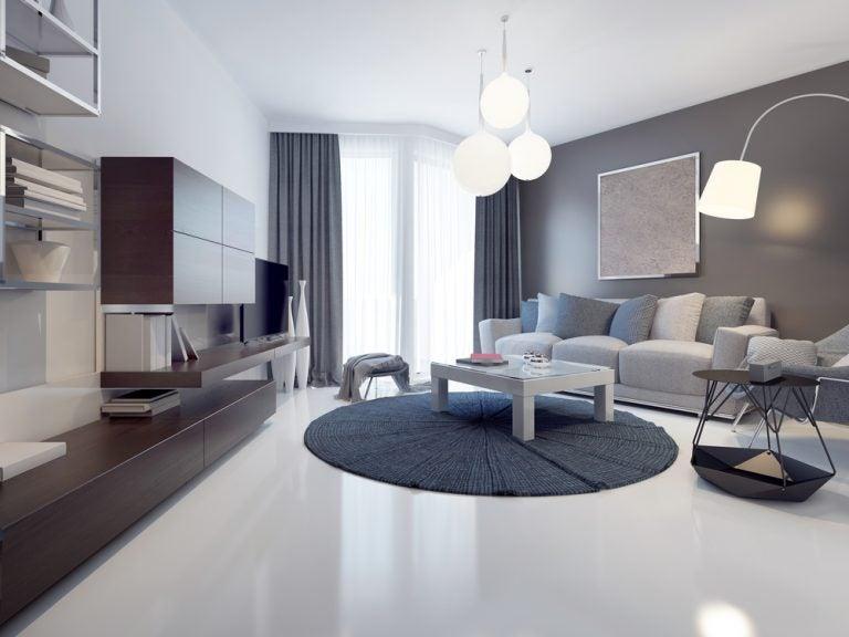 Uma sala de estar totalmente cinza