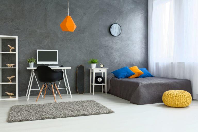 Quarto minimalista e funcional- apartamento com estilo jovem e moderno