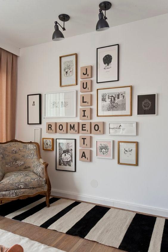 decoração com palavras cruzadas-decore as paredes com letras e números