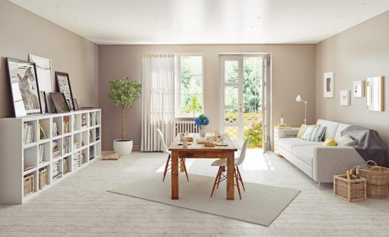 harmonia da sala de jantar e sala de estar integradas
