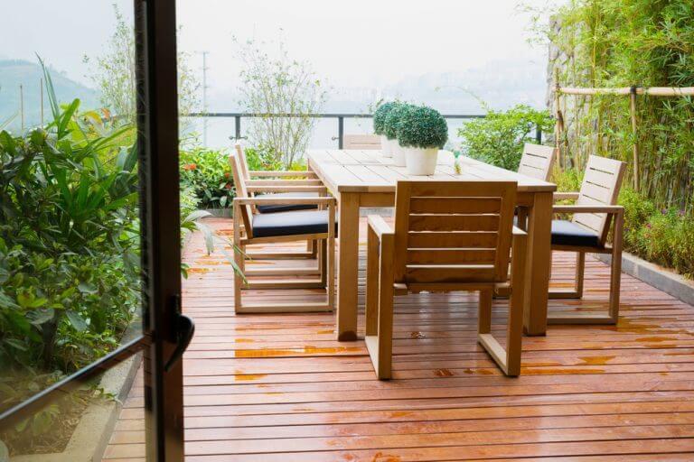 mobiliário do terraço de uma cobertura