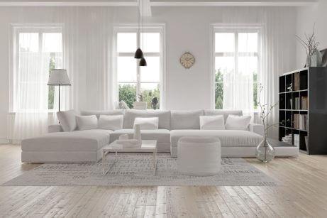 decorar a sala de estar com móveis grandes-sala branca