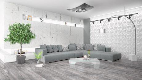 decorar a sala de estar com móveis grandes- cinza