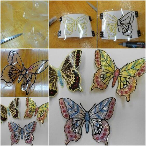 borboletas com vários materiais