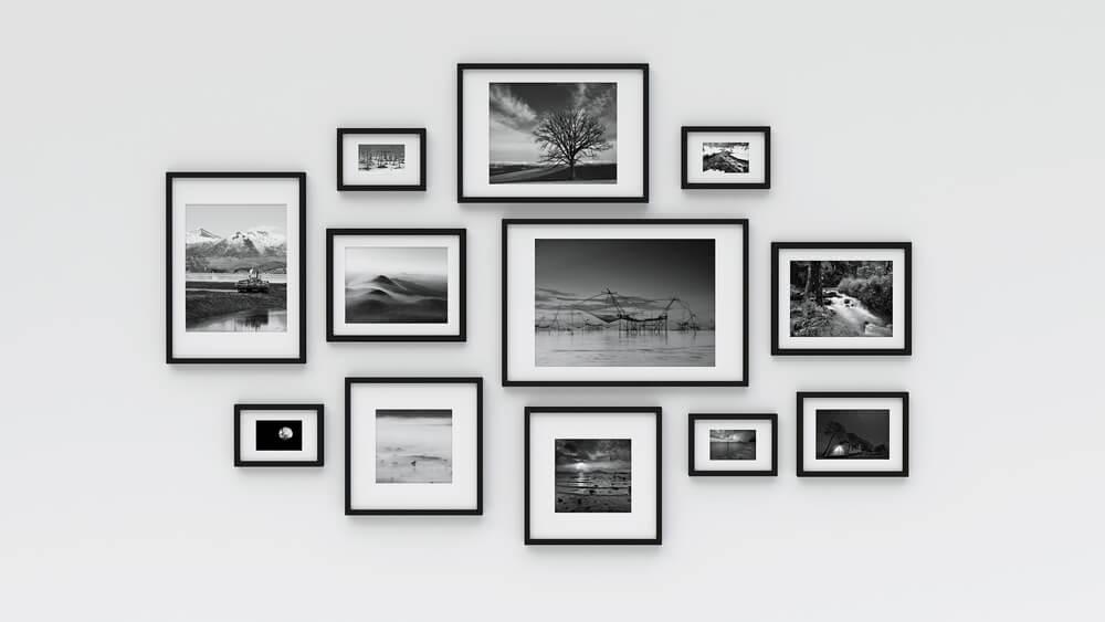 Mural com suas fotos em preto e branco-fotos de família