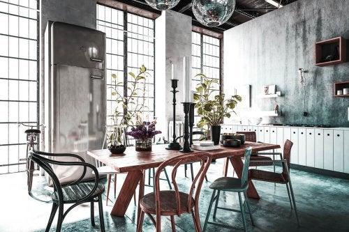 Sala de jantar no estilo eclético