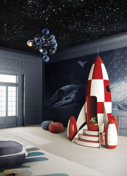 Universo estrelado nos seus tetos infantis