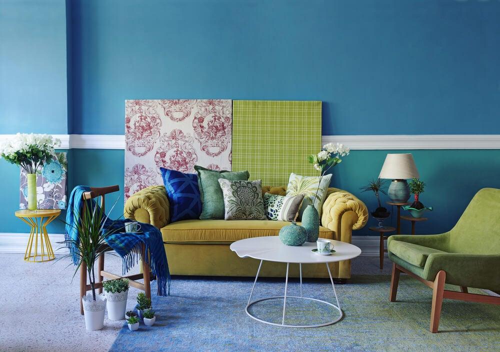 cores para decorar a sala