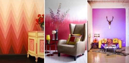 Exemplos de paredes com efeito degradê