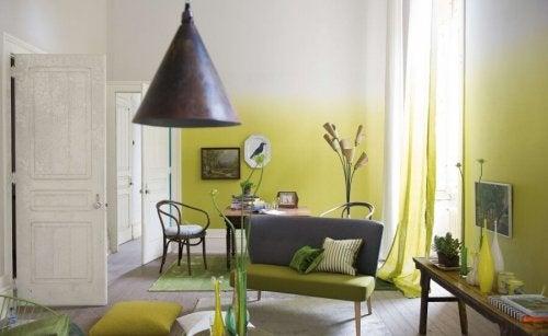 Sala pintada com efeito degradê