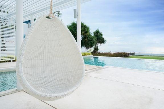 Cadeiras de fibra natural para o jardim