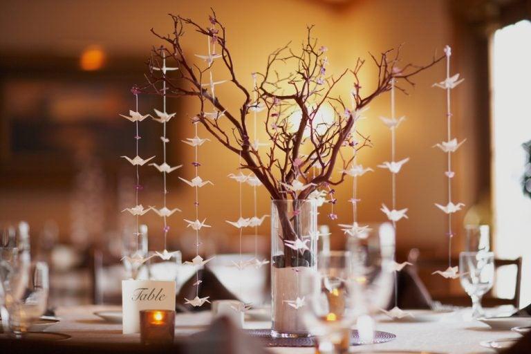centro de mesa árvore seca
