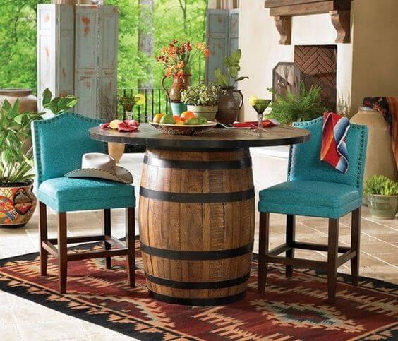 Mesa de barril para decoração-Barris