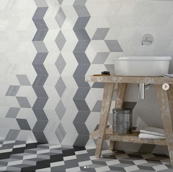 azulejos geométricos para o banheiro