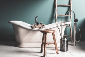 decoração banheiro rústico
