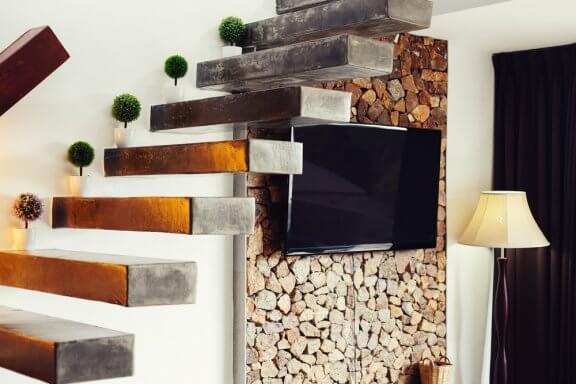 Escada de concreto moderna e minimalista