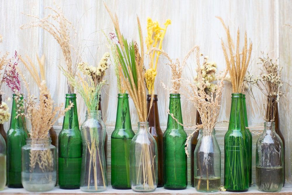 garrafas de vidro para decorar