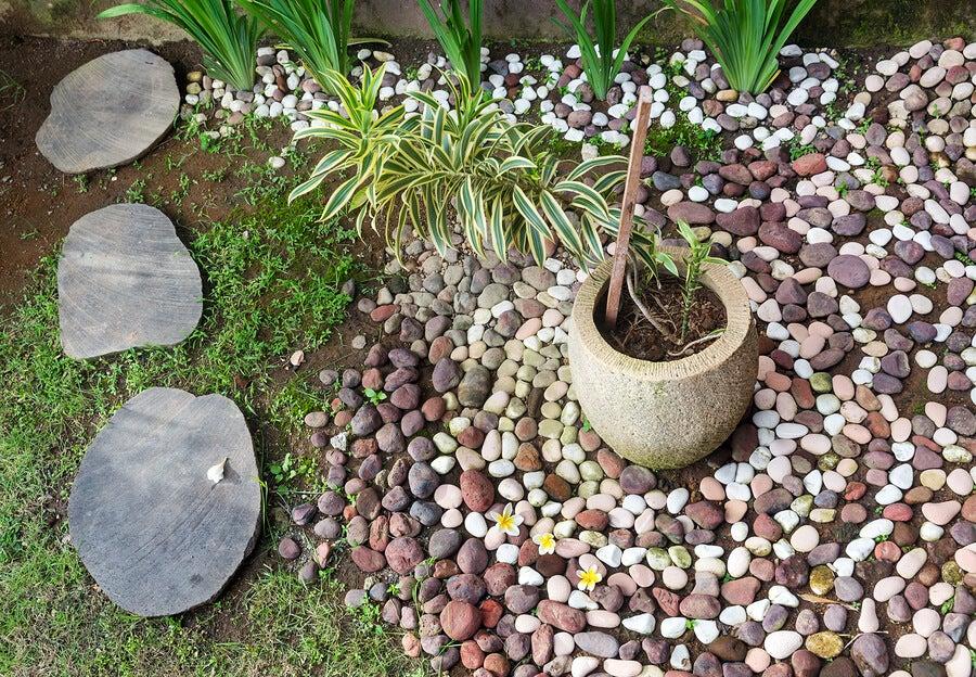 Pedras de rio no jardim