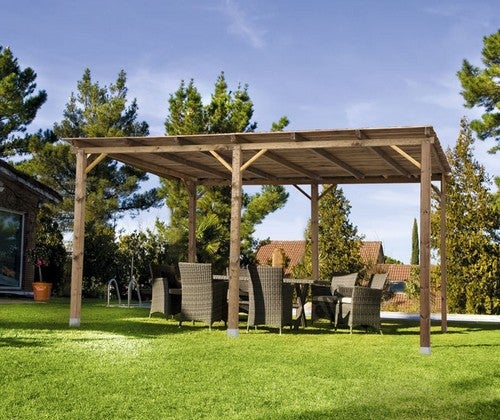 Outro recurso confortável para este espaço pode ser o seguinte:uma pérgula que pode ser utilizada para fornecer sombra e como espaço para refeições