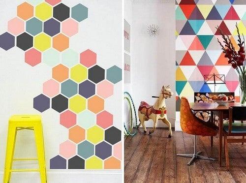 Pinte suas paredes com várias cores e fazendo formas geométricas