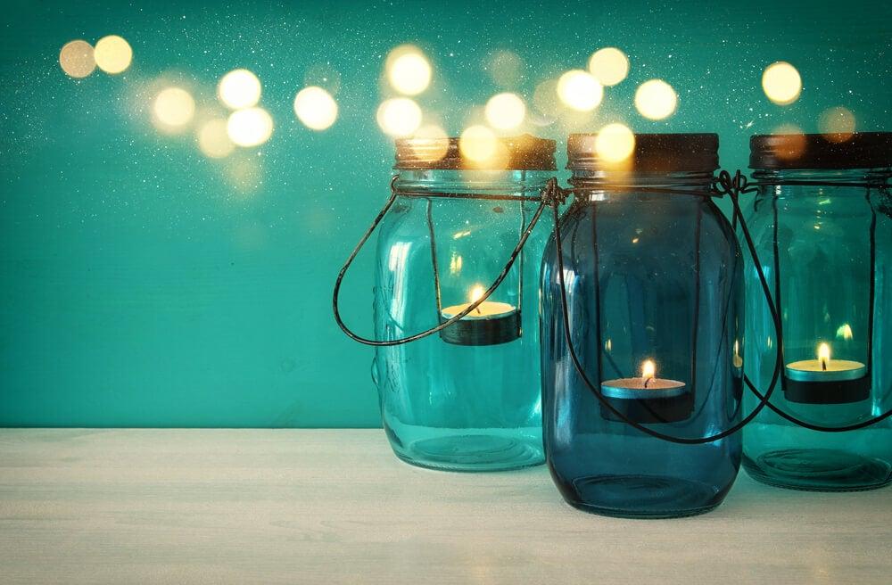 como fazer decoração com potes de vidro